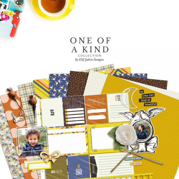 One Of A Kind Digital Scrapbook Collection by Sahin Designs. Click to download the kit. Pin & save for later!