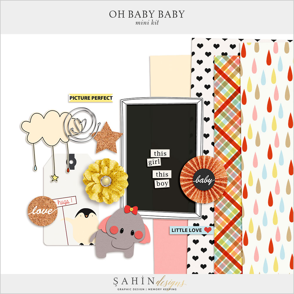 Oh Baby Baby Free Digital Scrapbook Mini Kit by Sahin Designs. Click thru to download the kit. Pin & save for later!