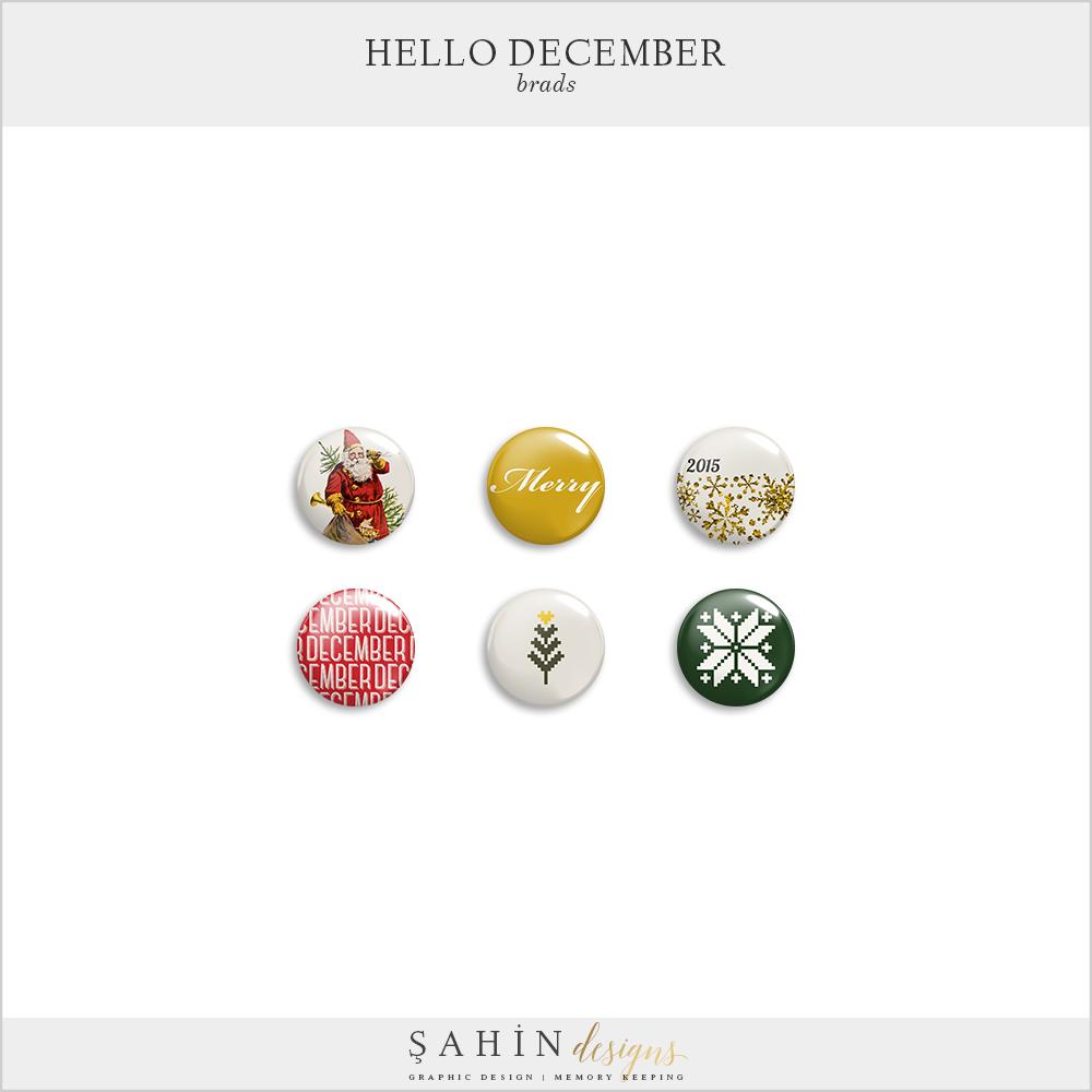 Hello December Brads Free Digital Scrapbook Kit - Sahin Designs