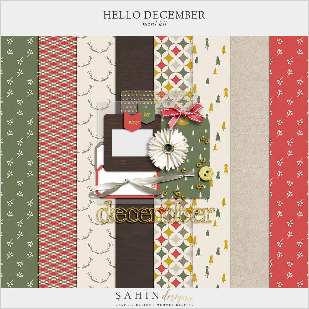 Hello December Free Digital Scrapbook Kit - Sahin Designs