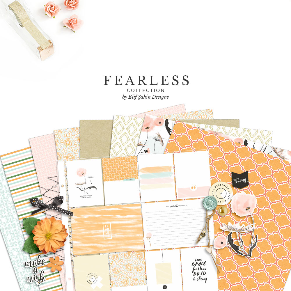 Fearless Digital Scrapbook Collection by Sahin Designs. Click to download the kit. Pin & save for later!