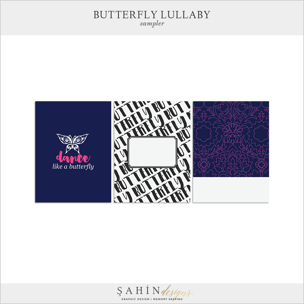 Butterfly Lullaby Free Digital Scrapbook Kit - Sahin Designs