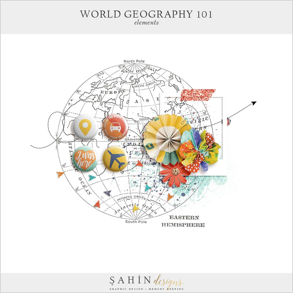 World Geography Free Digital Scrapbook Kit - Sahin Designs
