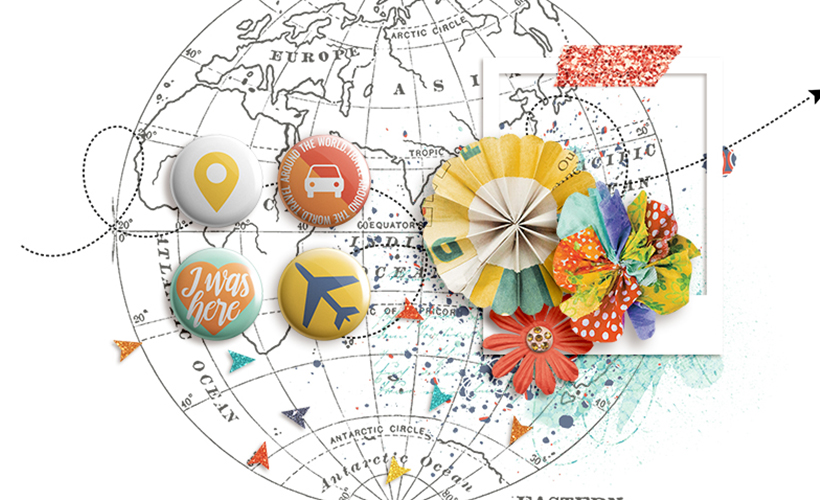 World Geography Free Digital Scrapbook Kit - Sahin Designs