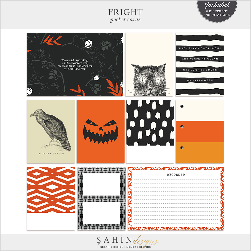 Fright Digital Scrapbook Pocket Cards by Sahin Designs   Project Life