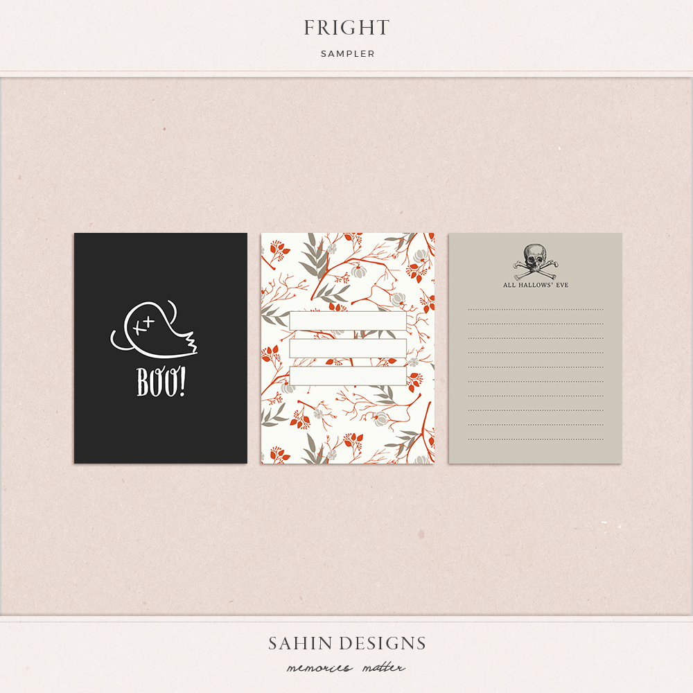 Fright Free Digital Scrapbook Pocket Cards - Sahin Designs