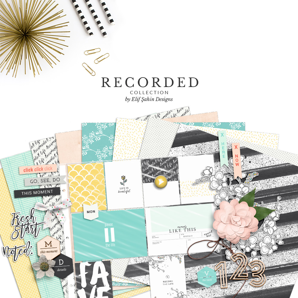 Recorded Digital Scrapbook Collection by Sahin Designs. Click to download the kit. Pin & save for later!