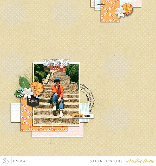 Digital scrapbook layout using Fearless collection by Sahin Designs. Click thru to see more inspirations. Pin & save for later!