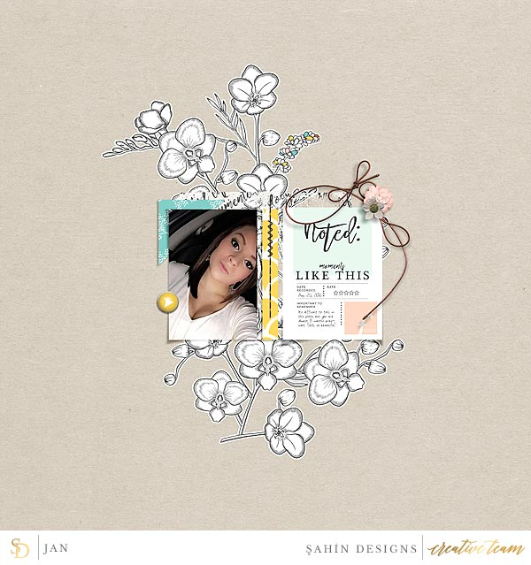 Digital scrapbook layout on Sahin Designs using Recorded digital scrapbook collection. Click through to have a look at all August creative gallery!