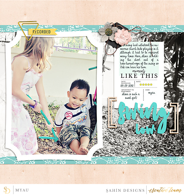 Digital scrapbook layout on Sahin Designs using Recorded digiscrap collection. Click through to have a look at all May creative gallery!