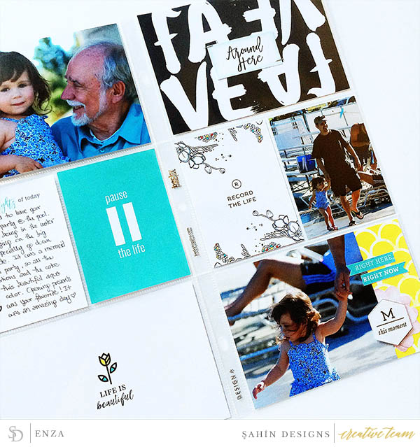 Hybrid Pocket scrapbook layout using Recorded collection by Sahin Designs. Click thru to see more inspirations. Pin & save for later!