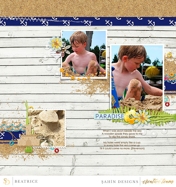 Digital scrapbook layout using Sand & Beach collection by Sahin Designs. Click thru to see more inspirations. Pin & save for later!