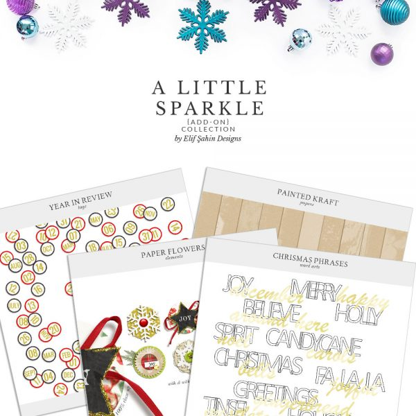 A Little Sparkle Add On Digital Scrapbook Collection by Sahin Designs. Click to download the kit. Pin & save for later!