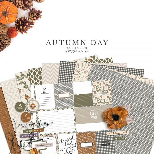 Autumn Day Digital Scrapbook Collection by Sahin Designs. Click to download the kit. Pin & save for later!