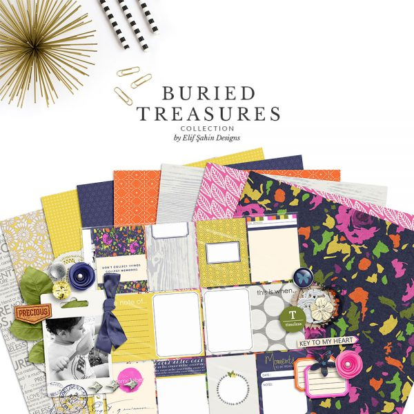Buried Treasures Digital Scrapbook Collection by Sahin Designs. Click to download the kit. Pin & save for later!