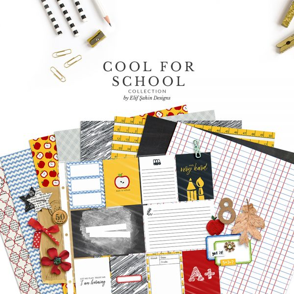 Cool For School Digital Scrapbook Collection by Sahin Designs. Click to download the kit. Pin & save for later!