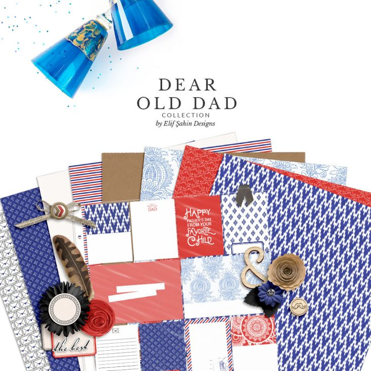 Dear Old Dad Digital Scrapbook Collection by Sahin Designs. Click to download the kit. Pin & save for later!