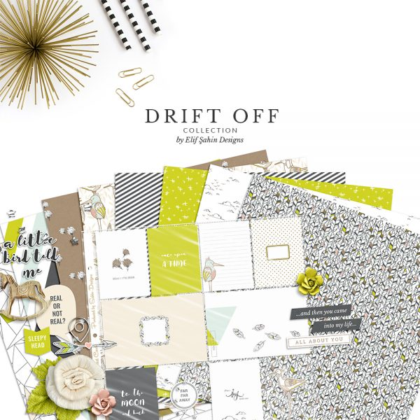 Drift Off Digital Scrapbook Collection by Sahin Designs. Click to download the kit. Pin & save for later!