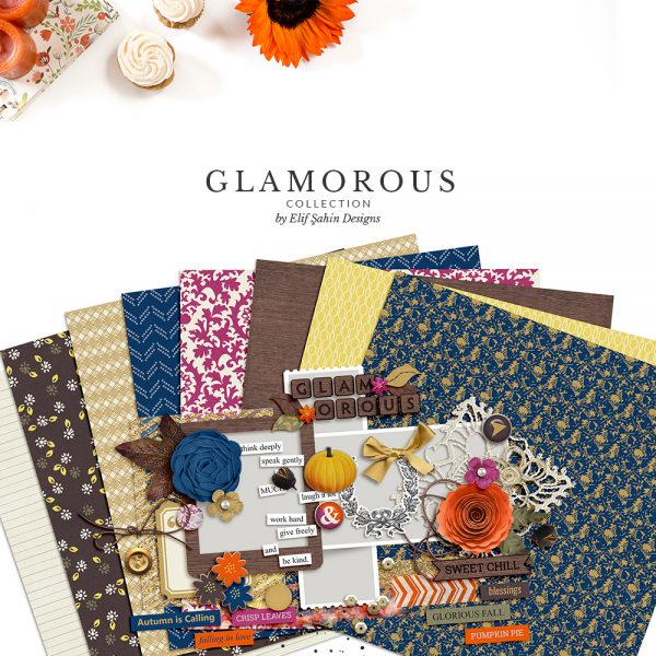 Glamorous Digital Scrapbook Collection by Sahin Designs. Click to download the kit. Pin & save for later!