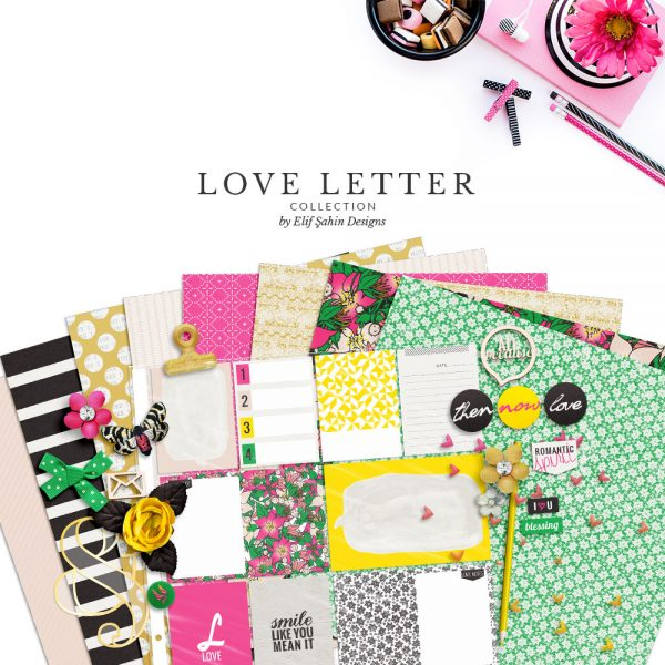 Love Letter Digital Scrapbook Collection by Sahin Designs. Click to download the kit. Pin & save for later!