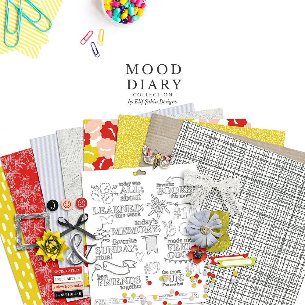Mood Diary Digital Scrapbook Collection by Sahin Designs. Click to download the kit. Pin & save for later!