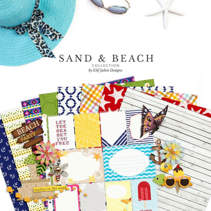 Sand & Beach Digital Scrapbook Collection by Sahin Designs. Click thru to download. Pin & save for later!
