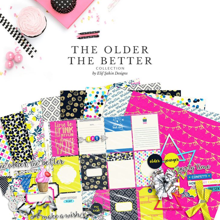 The Older The Better Digital Scrapbook Collection by Sahin Designs. Click to download the kit. Pin & save for later!
