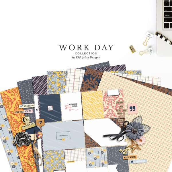 Work Day Digital Scrapbook Collection by Sahin Designs. Click to download the kit. Pin & save for later!