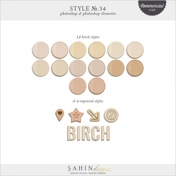 Birch Wood Photoshop Layer Styles by Sahin Designs. Commercial Use Digital Scrapbook Supplies. Click to download the kit. Pin & save for later!
