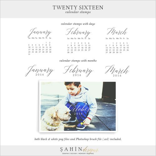 2016 Printable Calendar Stamps by Sahin Designs. Click to download the kit. Pin & save for later!