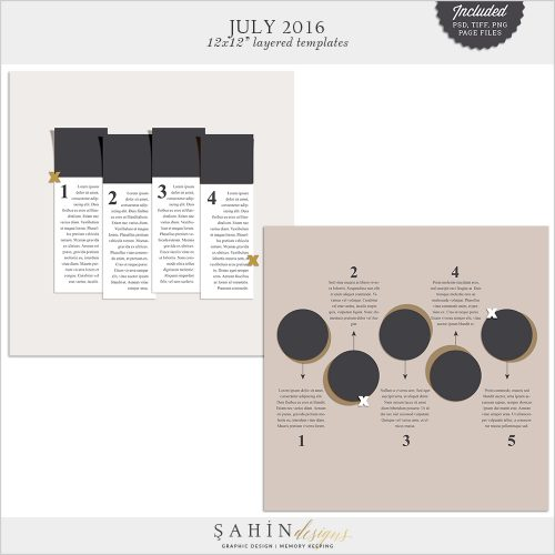 July 2016 Digital Scrapbook Layout Templates/Sketches by Sahin Designs. Click to download the kit. Pin & save for later!