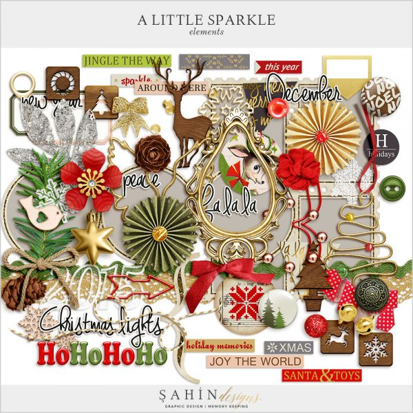 A Little Sparkle Scrapbook Elements by Sahin Designs. Click to download the kit. Pin & save for later!