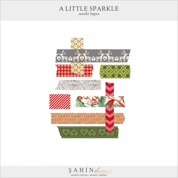 A Little Sparkle Scrapbook Washi Tapes by Sahin Designs. Click to download the kit. Pin & save for later!