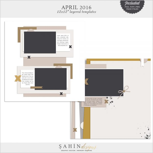 April 2016 Digital Scrapbook Layout Templates/Sketches by Sahin Designs. Click to download the kit. Pin & save for later!