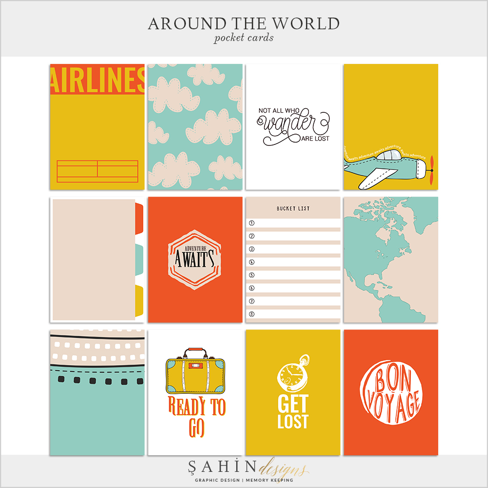 Around The World Digital Scrapbook Pocket Cards by Sahin Designs. Click to download the kit. Pin & save for later!
