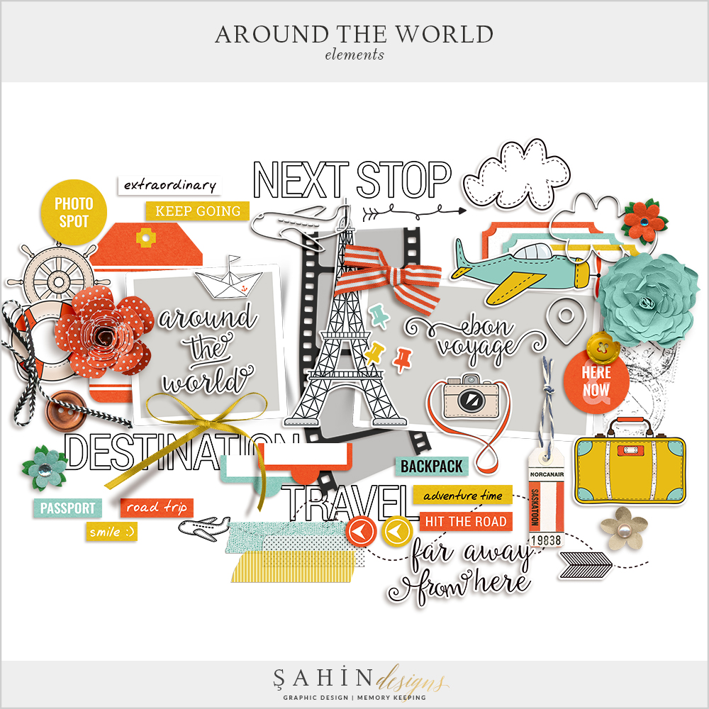 Around The World Digital Scrapbook Elements by Sahin Designs. Click to download the kit. Pin & save for later!