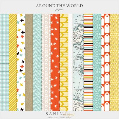 Around The World Digital Scrapbook Papers by Sahin Designs. Click to download the kit. Pin & save for later!
