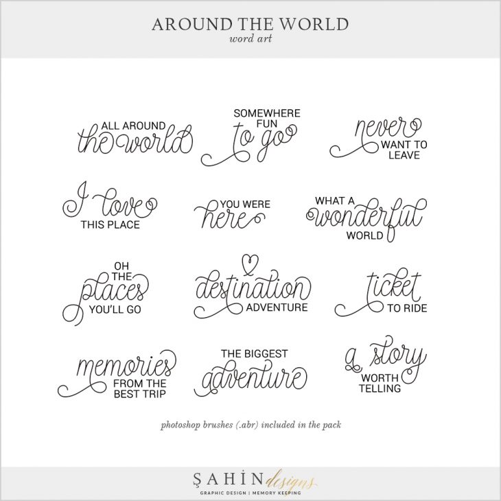 Around The World Digital Scrapbook Word Arts by Sahin Designs. Click to download the kit. Pin & save for later!