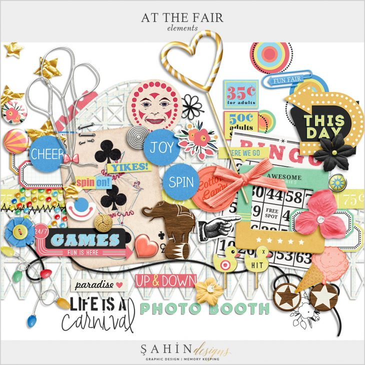 At The Fair Digital Scrapbook Elements by Sahin Designs. Click to download the kit. Pin & save for later!