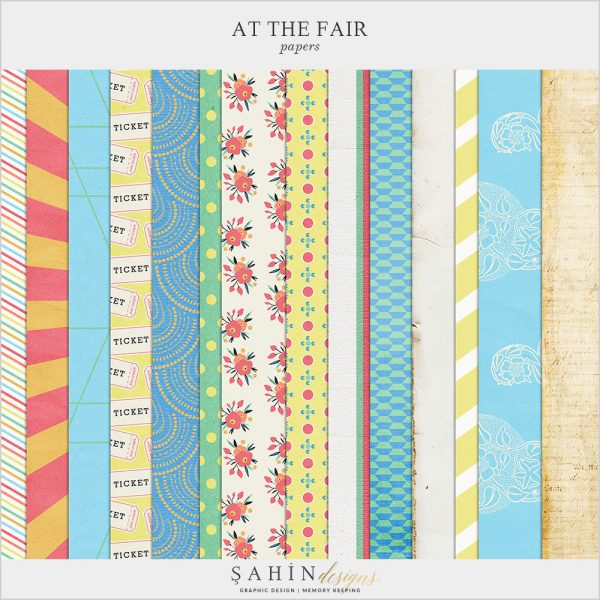 At The Fair Digital Scrapbook Papers by Sahin Designs. Click to download the kit. Pin & save for later!