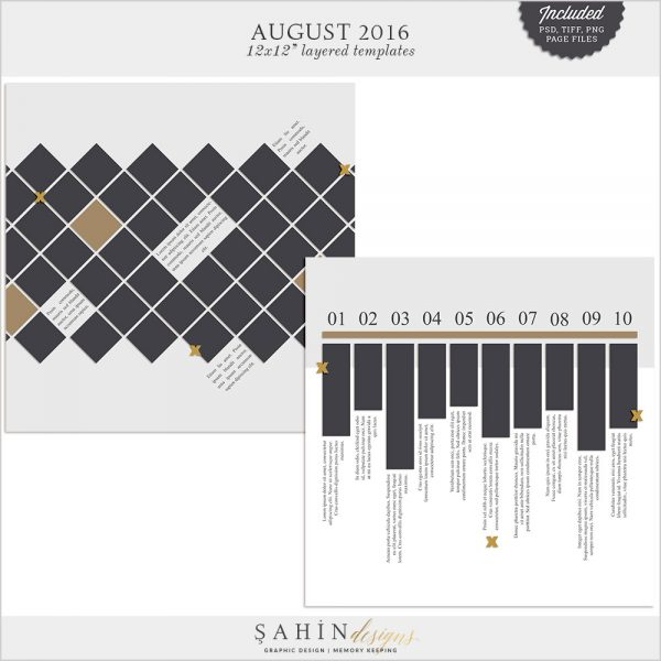 August 2016 Digital Scrapbook Layout Templates/Sketches by Sahin Designs. Click to download the kit. Pin & save for later!