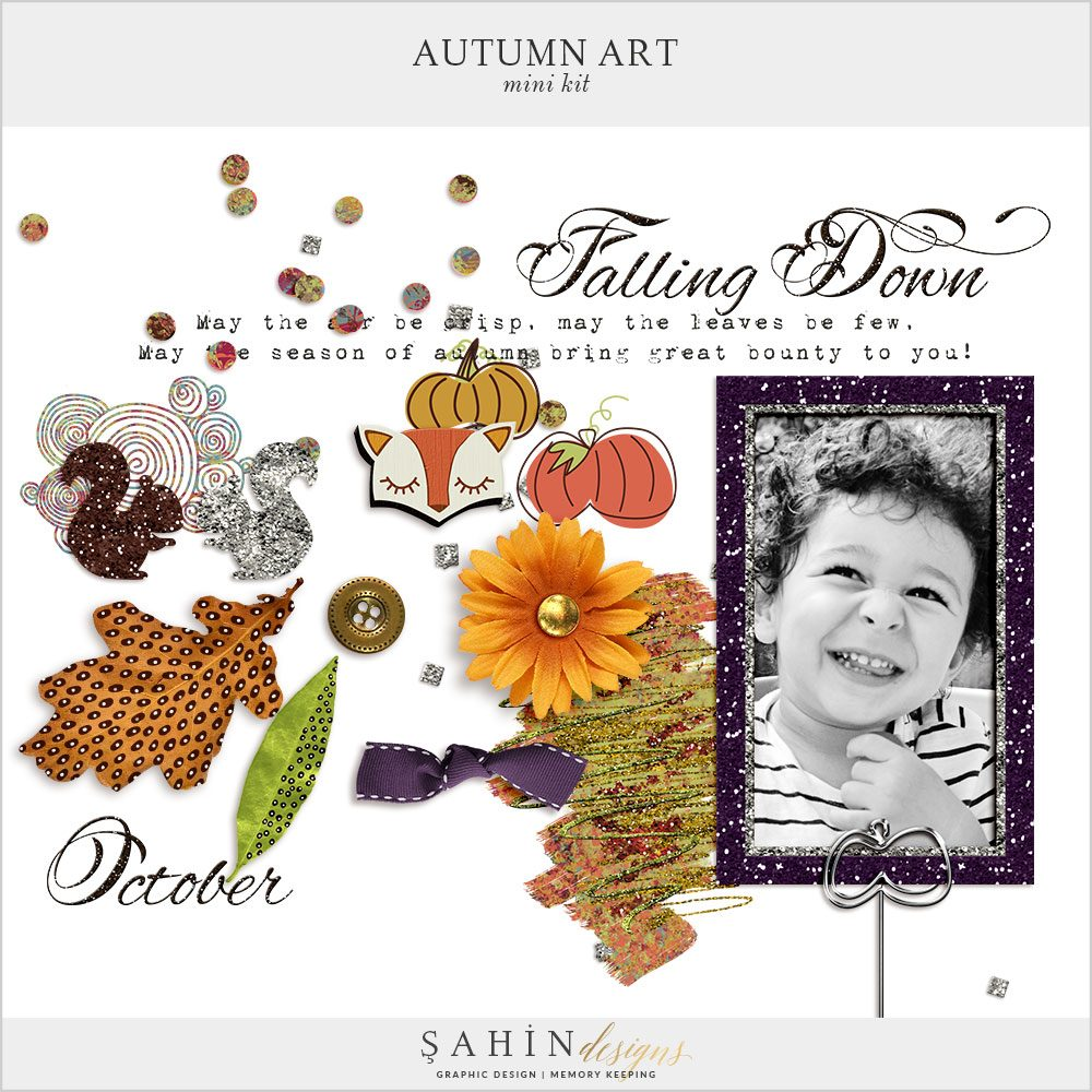 Autumn Art Mini Digital Scrapbook Kit by Sahin Designs. Click to download the kit. Pin & save for later!