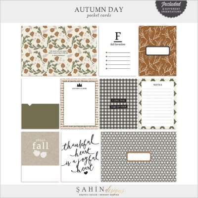 Autumn Day Digital Scrapbook Pocket Cards by Sahin Designs. Click to download the kit. Pin & save for later!