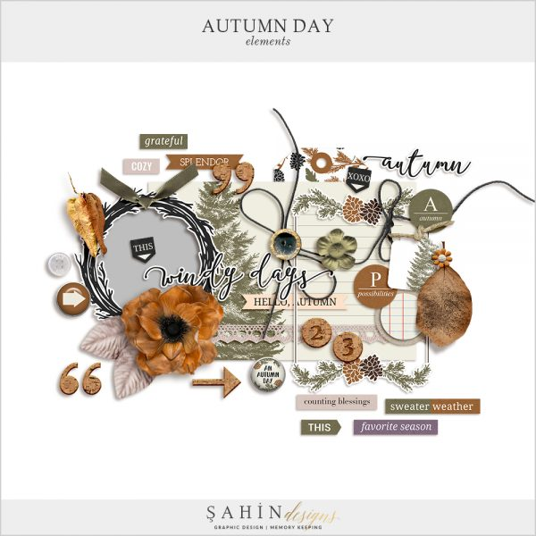 Autumn Day Digital Scrapbook Elements by Sahin Designs. Click to download the kit. Pin & save for later!