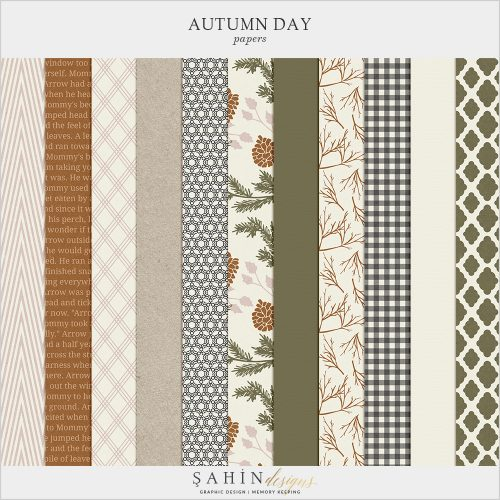 Autumn Day Digital Scrapbook Papers by Sahin Designs. Click to download the kit. Pin & save for later!