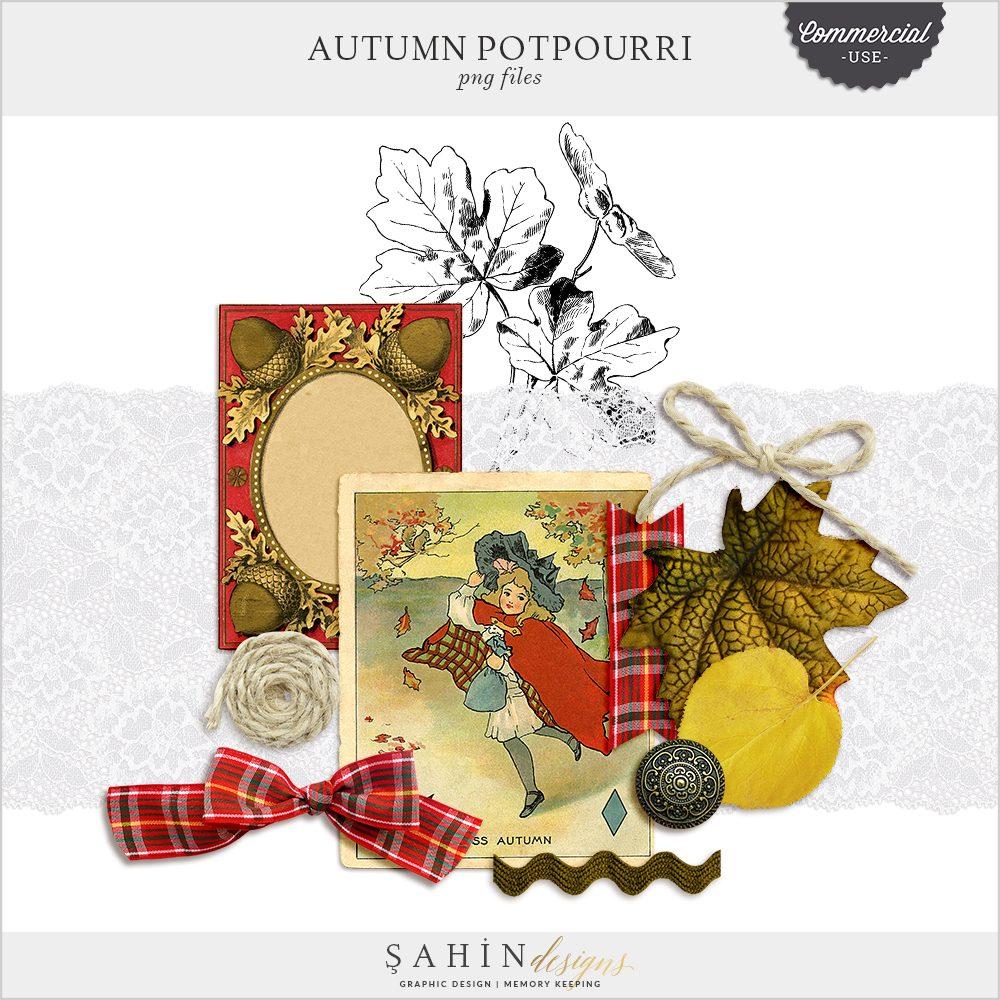 Autumn Potpourri Commercial Use Digital Scrapbook Elements by Sahin Designs