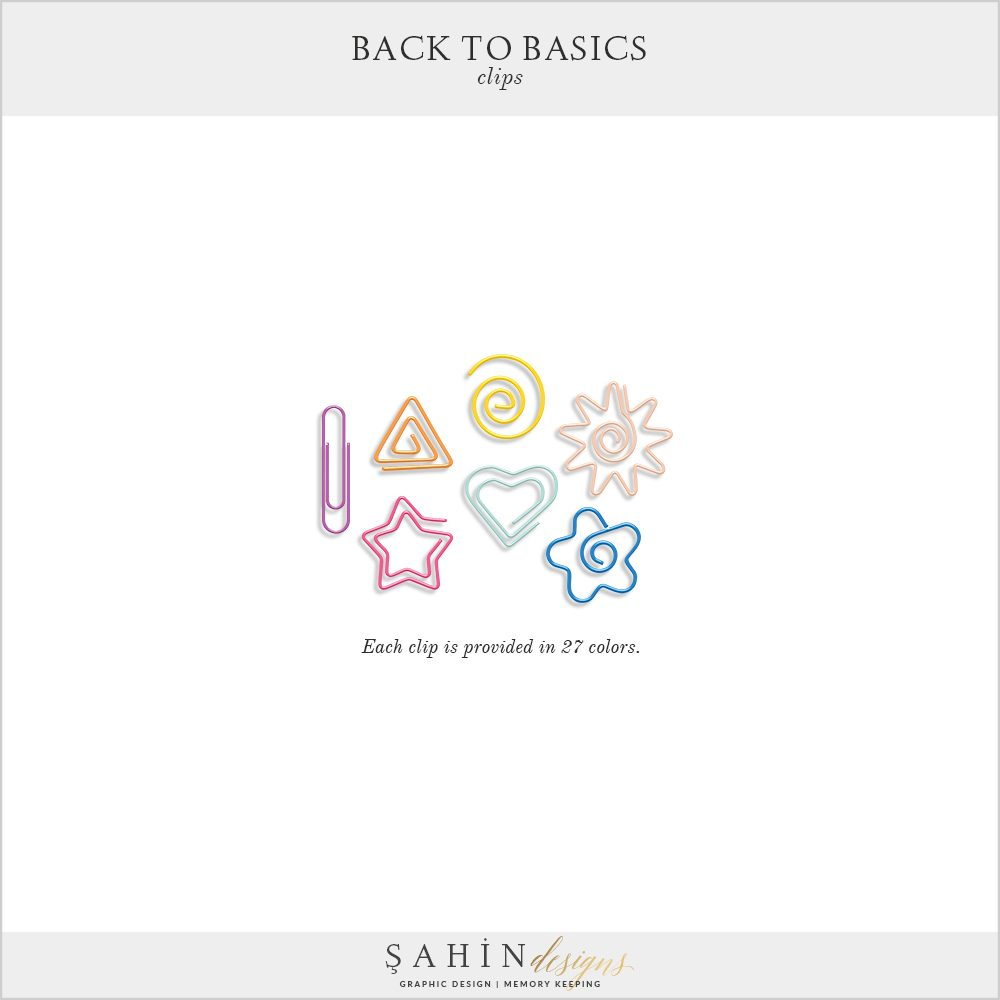 Back to Basics Digital Scrapbook Clips by Sahin Designs. Click to download the kit. Pin & save for later!