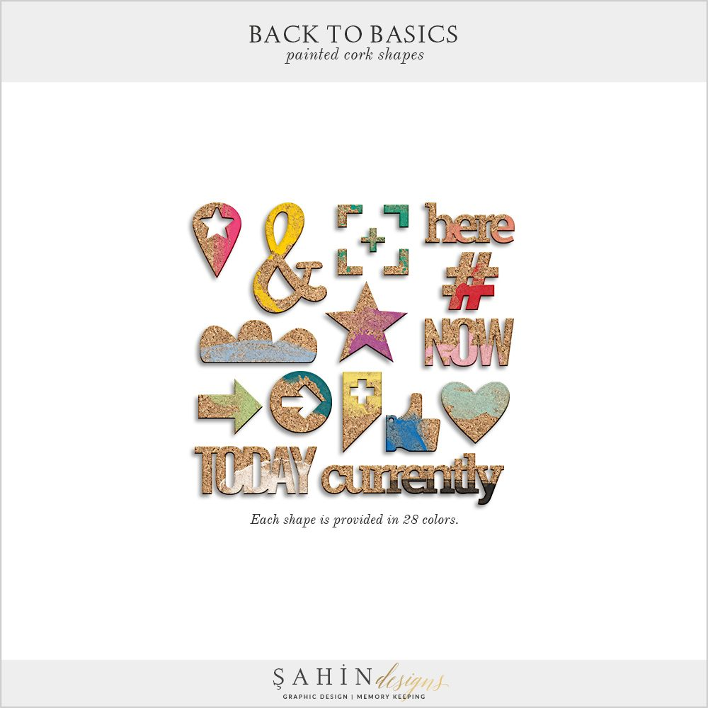 Back To Basics Digital Scrapbook Cork Shapes by Sahin Designs. Click to download the kit. Pin & save for later!