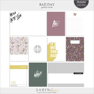 Bad Day Digital Scrapbook Pocket Cards by Sahin Designs. Click to download the kit. Pin & save for later!