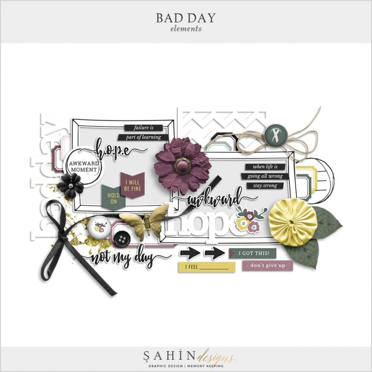 Bad Day Digital Scrapbook Elements by Sahin Designs. Click to download the kit. Pin & save for later!